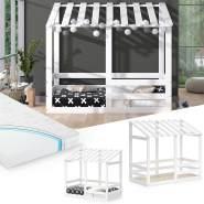 VitaliSpa 'Silvia' Hausbett, weiß, 70x140cm, Massivholz Buche inkl. Matratze, Lattenrost und Rausfallschutz