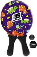 Sunflex Jerseyprene Beachball Set Youngster Dino mit Zwei Schlägern und Zwei Bällen|kleinere Schlagfläche und kleinerer Griff für Kinder|weich und leicht|extrem robust und wasserfest