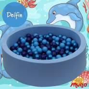 Bio Premium Bällebad DELFIN in hellblau mit 300 Bällen aus Zuckerrohr