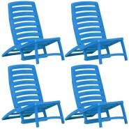 vidaXL Kinder-Strandstühle Klappbar 4 Stk. Blau Kunststoff