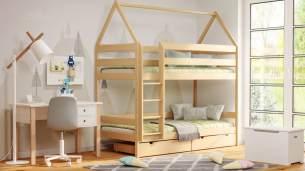 Kinderbettenwelt 'Home' Etagenbett 80x190 cm, natur, Kiefer massiv, mit Lattenrosten und zwei Schubladen