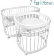 tweeto Beistellbett 7-in-1, weiß, höhenverstellbar, rollbar, auch als Sitzgruppe, Laufgitter, Stubenwagen und Kinderbett nutzbar