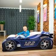 Nobiko Autobett 180 X 80 cm inkl. Matratze und Lattenrost, blau