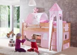 Halbhohes Spielbett KIM Buche massiv natur lackiert mit Textilset rosa/weiß