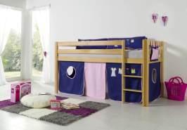 Relita Halbhochbett Spielbett ALEX-13 Buche massiv natur lackiert mit Stoffset Vorhang & Tasche Kleider
