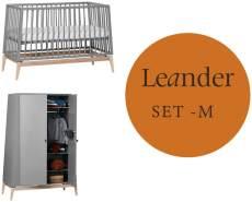 Leander Luna Kinderzimmer M-Set Grau / Eiche Kleiderschrank Klein Babybett 120 x 60 cm