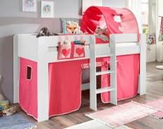 Relita 'Andi' Halbhochbett weiß, inkl. Matratze und großes Stoffset 'Pink/Rosa'