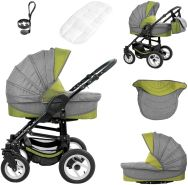Bebebi Florenz   Luftreifen in Weiß   3 in 1 Kombi Kinderwagen   Farbe: Medici Green Black