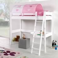Relita 'RENATE' Multifunktionsbett mit Schreibtisch weiß, Stoffset Rosa/Weiß inkl. Matratze