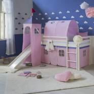Hochbett Spielbett Kinderbett Rutsche Turm Vorhang pink 90x200 Jugendbett Tun