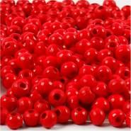Holzperlen, D: 5 mm, Lochgröße 1,5 mm, Rot, 6g, ca. 150 Stück