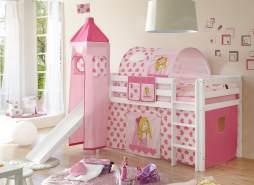 Spielbett 'Prinzessin' 90x200 cm, Rutsche + Turm + Vorhang + Tunnel + Tasche