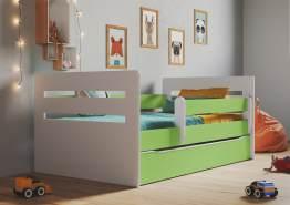 Kinderbett Jugendbett Grün mit Rausfallschutz Schubalde und Lattenrost Kinderbetten für Mädchen und Junge - Tomi 80 x 160 cm