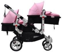 Babyfivestar Geschwisterwagen / Zwillingswagen Pink / Black (Schwarzes Gestell!)
