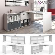Vicco 'FlexPlus' Eckschreibtisch, Weiß, mit Sideboard
