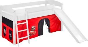 Lilokids 'Ida 4105' Spielbett 90 x 200 cm, Disney Cars, Kiefer massiv, mit Rutsche und Vorhang