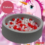 Bio Premium Bällebad EINHORN in hellgrau mit 300 Bällen aus Zuckerrohr