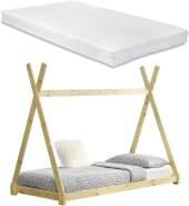 [en.casa] Tipi-Bett Natur 90x200 cm, inkl. Lattenrost und Matratze