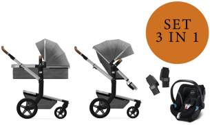 Joolz 'Day+' Kombikinderwangen 3in1 2020 in Radiant Grey, inkl. Cybex Aton 5 Babyschale in Deep Black