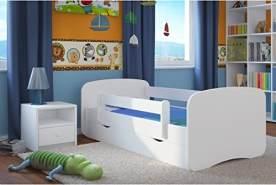 Kocot Kids Kinderbett 80 x 160 cm weiß mit Rausfallschutz, Schublade und Lattenrost