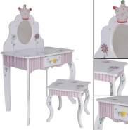 habeig Kinder SCHMINKTISCH #988 mit Hocker rosa weiß grün Spiegel Schublade Krone
