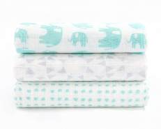 Julius Zöllner 3-er Pack Swaddle Tücher 70 x 70 cm 'Elefant' mint
