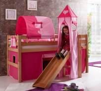 Relita 'Eliyas' Hochbett natur inkl. Stoffset 'Pink/Herz' und Matratze