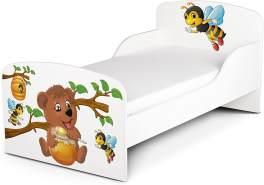 Leomark Kinderbett 70x140 cm, Bienen und Teddybär, mit Matratze und Lattenrost