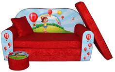 FORTISLINE Kindersofa mit Hocker 'Girl Red'