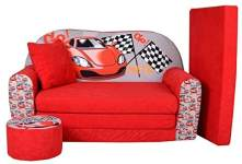 FORTISLINE Kindersofa mit Hocker 'Racing Car'