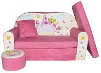 FORTISLINE Kindersofa mit Hocker 'Pink Castle'