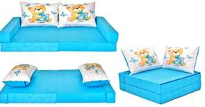 COCO-baby Kindersofa mit Bettfunktion Blue-Bear, 160 x 80 x 12 cm