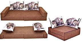 COCO-baby Kindersofa mit Bettfunktion Brown-Cats, 160 x 80 x 12 cm