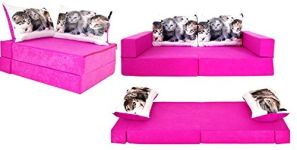 COCO-baby Kindersofa PINK Cats, 160 x 80 x 12 cm